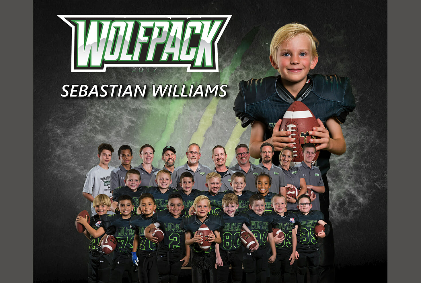 Parker Wolf Pack Football team and individual photo