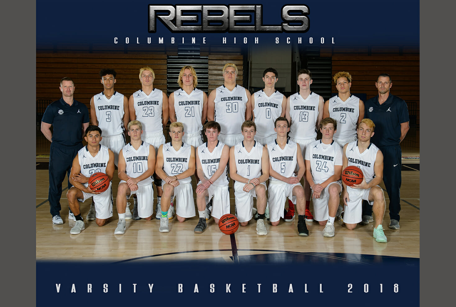 Team Photo of Columbine Highs school varsity basketball