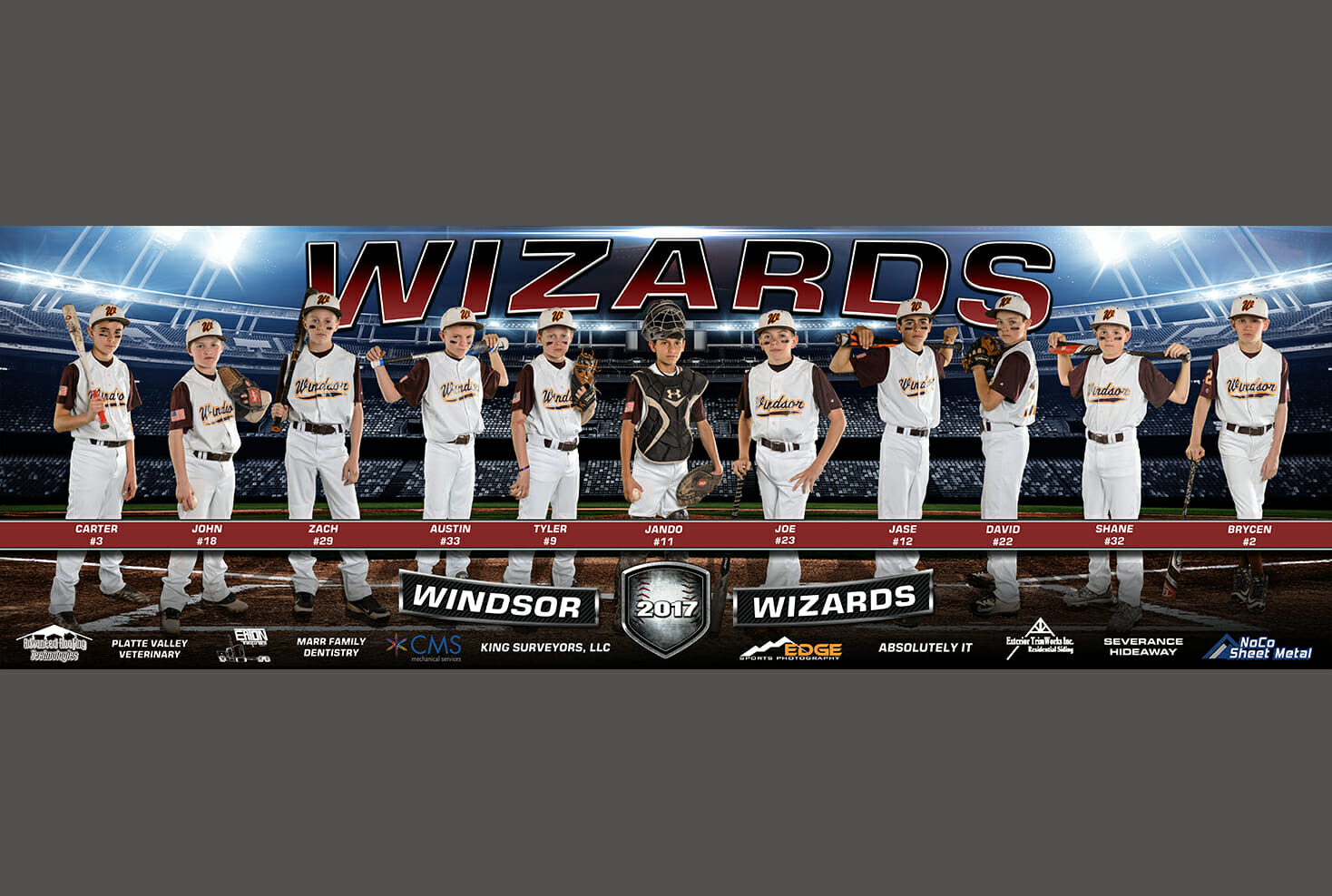 Sports photograph banner of Windsor Wizard baseball team